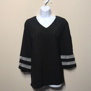 New. Black Blouse - V-neck with 3/4 wide-Sleeves